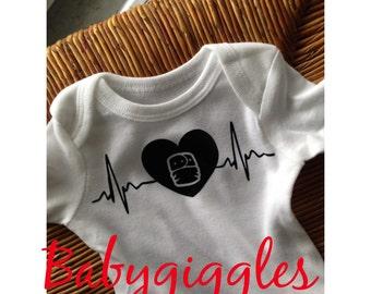 Ready to ship - 0-3 months EKG  cloth diaper Onesie