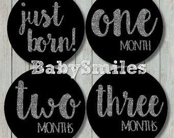 FREE GIFT Monthly Baby Stickers Baby Month Stickers Girl Month Stickers Monthly Bodysuit Sticker Monthly Milestone Stickers - Silver Glitter