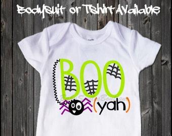 Boo Yah Spider Halloween Shirt Baby Bodysuit Funny Halloween Shirt Baby Halloween Boy Shirt Boy Bodysuit Kids Halloween Shirt Spider H102