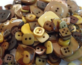 25 Brown Square Buttons Grab Bag Assorted Square Multi Size Crafting Sewing Buttons