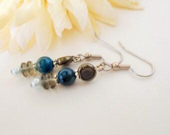 Blue and Gray Dangle Earrings, Mother of Pearl, Navy Blue Shell Earrings, Bohemian Czech Glass Earrings, Beaded Earrings, Sterling Silver