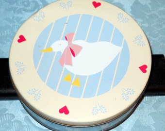 Cute LIttle Goose on Pale Blue and Cream Storage Tin With Red Hearts, Vintage