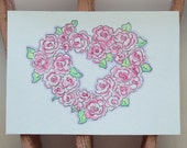 "Heart Wreath, Hand Painted Art, ACEO, ""Love"""