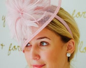 "Blush Pink Fascinator - ""Victoria"" Twist Mesh Fascinator embellished with Fluffy Feathers on a Headband"