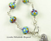 Bracelet of Colorful Lampwork Beads