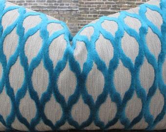 Designer Pillow Cover Lumbar, 16 x 16, 18 x 18, 20 x 20 KH Raised Velvet Turquoise