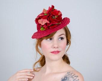 1930s vintage hat / straw tilt hat / Rose Red