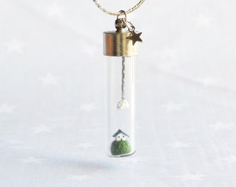 Summer Necklace with tiny house and cloud. Miniature in Bottle. Terrarium necklace.