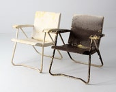 SALE mid century lawn chair pair, 1950s metal folding chairs