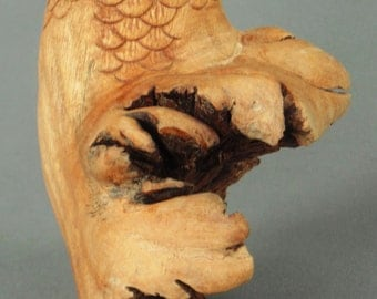 Hand Carved Owl Bali Wood Tree Root All One Piece NICE DETAIL