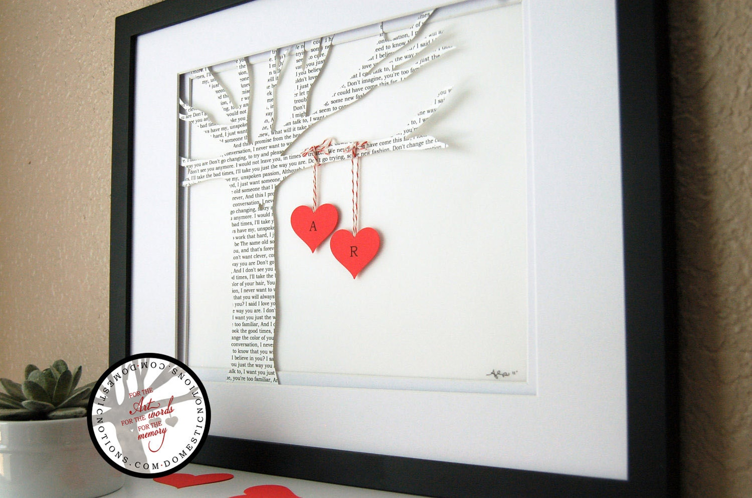 Wedding Gift Personalized Song Lyric Tree made with song