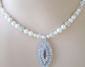 Wedding Necklace, Bridal Necklace, Pearl and Crystal Necklace,Swarovski Pearls,Pearl Necklace,Crystal Bridal Jewelry,Marquis, Vintage Retro