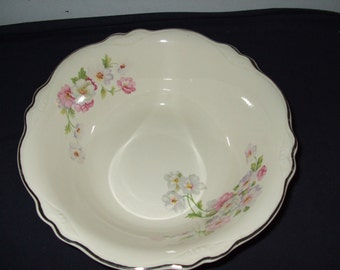 "Vintage Homer Laughlin Round Vegetable Bowl--""Fluffy Rose"""