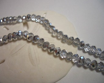 Crystal beads, 3 x 4mm, silver, 75 beads, 4mm glass beads, rondelle, crystals, translucent silver, 4mm beads, special, sale, clear, mirror