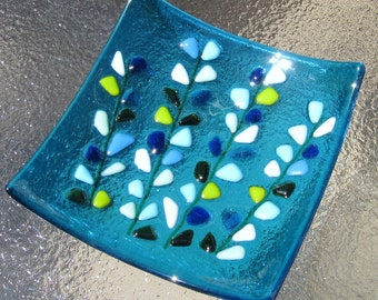 Fused Glass Plate, Blooming Branches on Turquoise Blue, Turquoise Glass Plate, Blue Glass Plate, Aquamarine Glass, Mothers Day Turquoise
