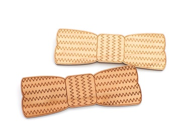 Wooden Bow Tie - Chevron Zig Zag Laser Cut Wood Bow Tie - For Him For Her