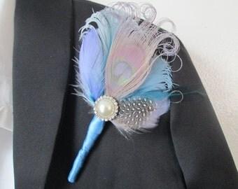 Powder Blue & Silver Wedding PEACOCK Boutonniere, Groom, Groomsmen Blue Boutonniere, Men's Lapel Pin, Serenity Blue, Cornflower Blue