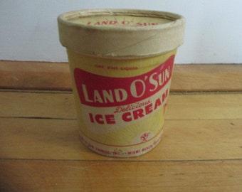 1940s Land O' Sun Vanilla Ice Cream Container Miami Beach Florida 1 Pint Size Very Good Aged Condition