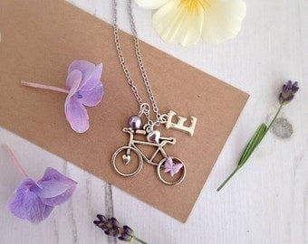Silver Bicycle Necklace, Cycling Charm Necklace, Bicycle Pendant, Personalised Bicycle Necklace, Cyclist Gift, Bicycle Gift