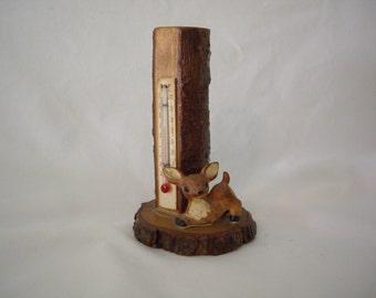 Vintage Wood Deer Thermometer
