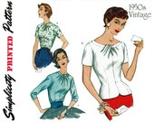 1950s Evening Blouse Pattern Uncut Simplicity 1278 1547 Reissue Draped Neckline Overblouse Pullover Tops Womens Vintage Sewing Patterns