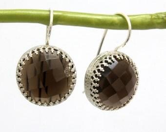 SALE - Smoky quartz earrings,silver earrings,gemstone earrings,semiprecious earrings,brown earrings,dangle earrings