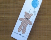 Birthday card with envelope brown teddy bear with balloon