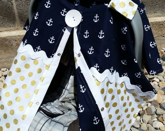 Carseat Canopy Navy Anchor Gold Dot