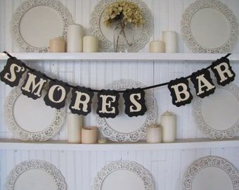 S'MORES BAR Banner, Wedding Sign, S'mores Sign, Wedding S'mores, Party Decoration
