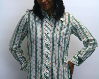 1970s Green and Cream Striped Blouse