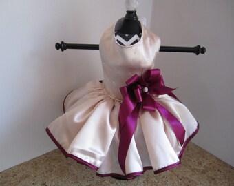 Dog Dress  XS Cream with Plum  By Nina's Couture Closet