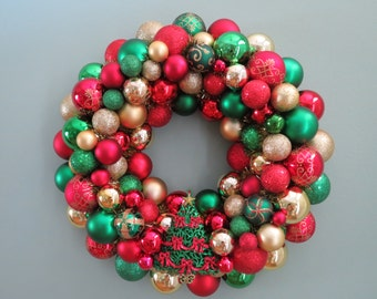 """Christmas Wreath 18""""-RED & GREEN  and GOLD Christmas Ornament Wreath with Tree Ornament"""
