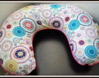 Boppy Cover with zipper closure - Bright Girly Fireworks Print