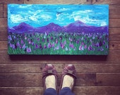 Spring Floral Iris Lupins Mountain Scene 12x24 Textured by MyImaginationIsYours