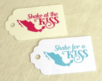 Shake for a Kiss Maracas Tag - Shake at the Kiss - Mexican Wedding - Luggage Tag Destination Travel - Multiple Colors