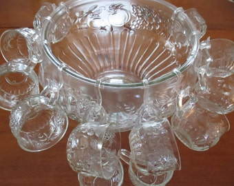 Jeanette Glass Punch Bowl Matching Glass Cups Holiday Dining Entertaining Christmas Punch Egg Nog YourFineHouse Parties Glass Servers