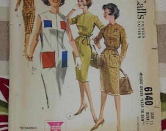 Vintage Pattern c.1961 McCall's No.6140 Dress, Size 12