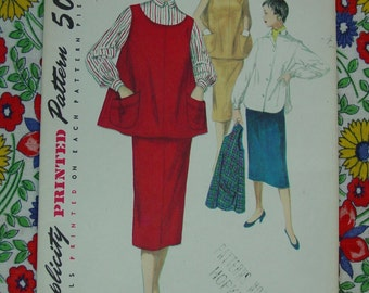 Vintage Pattern c.1954 Simplicity No.4847 Maternity Outfit, Size 12