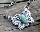 Butterfly Turquoise Faustite and Sterling Silver Necklace. silversmith metalwork pendant. hand fabricated, handmade, artisan, one of a kind