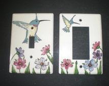 Ceramic handpainted Hummingbird switch plates