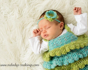 Ruffle Shirt and Rose Headband Crochet Pattern - All Newborn, Baby, and Toddler Sizes Included - Instant Digital Download