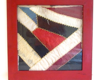 Antique crazy quilt square, framed fabric, vintage red painted frame
