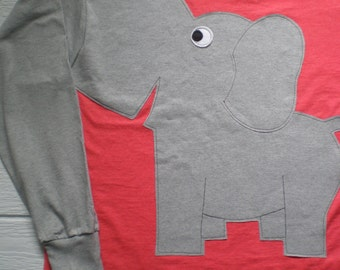 Long sleeve elephant tee shirt, dark coral t-shirt, adult extra large, elephant trunk sleeve. elephant t-shirt.