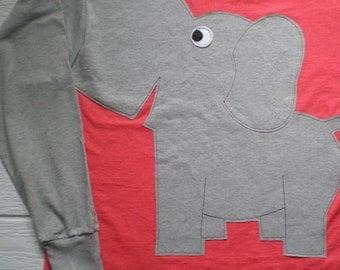 Long sleeve elephant tee shirt, dark coral t-shirt, adult extra large, elephant trunk sleeve. elephant t-shirt.