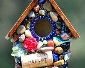 unique birdhouse Fairy garden birdhouse Mosaic Whimsical red rose, blue bird and Napa Valley Merlot Wine cork with deep Cobalt blues