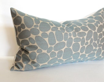 Lumbar Pillow Cover Blue Grey Pillow River Rock Upholstery Fabric Decorative Pillow Oblong Throw Pillow Cover 12x24 12x21 12x18 12x16 10x20