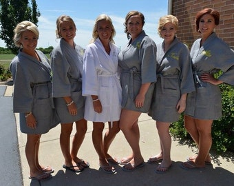 Gray Spa Robe Brides and Bridesmaid Gift Bridesmaid Robes Bridesmaids Robes Bridal Robes Monogrammed Waffle Weave Robe for Wedding Party