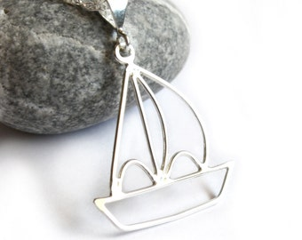 Sailboat Pendant Necklace - Handcrafted Sterling Silver Metalwork - Beach Summer Nautical Jewelry