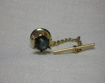 Vintage Tie Tack, Retro Black Mother of Pearl, MOP. Circa 1980s