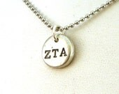 Zeta Tau Alpha Pewter Pebble Necklace - Official Licensed Product for Zeta Tau Alpha
